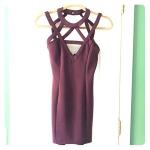 Strappy plum mini dress